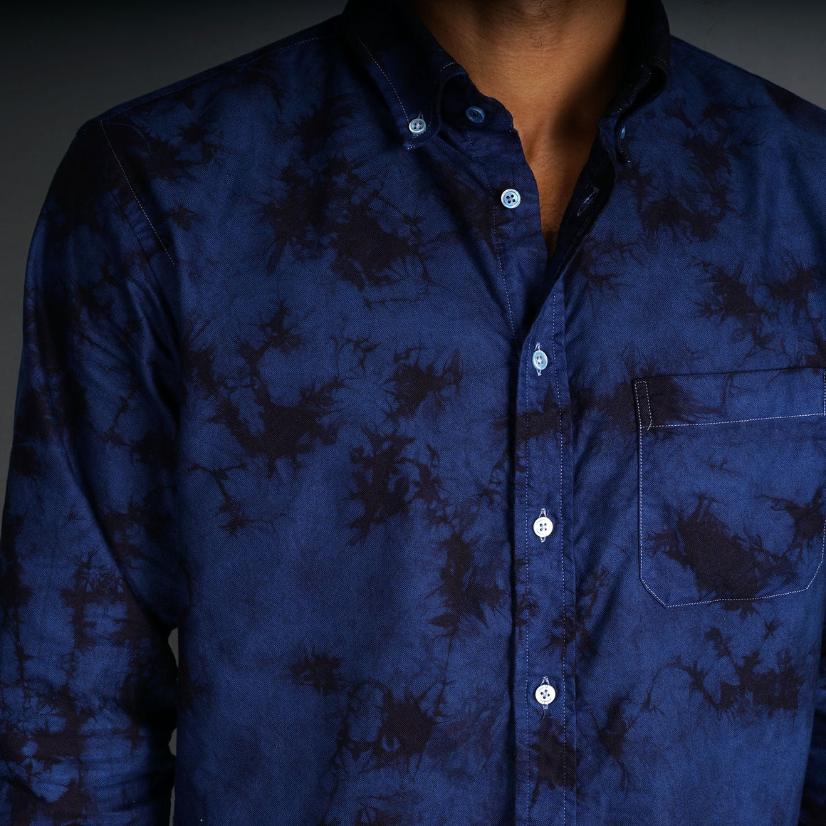 Crystal Wash Azure Ink Hand-Dyed Oxford Shirt