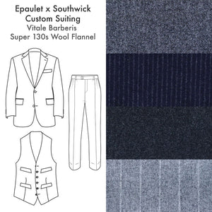 Made To Order Suiting Vitale Barberis Super 130s Wool Flannels