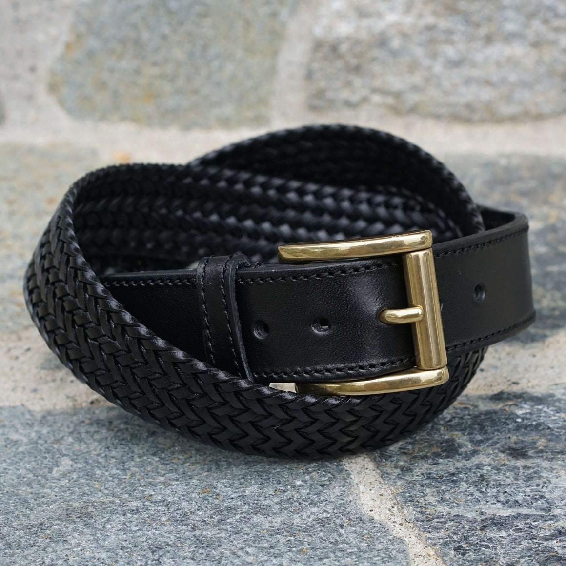 Braided Dress Belt Black Smooth