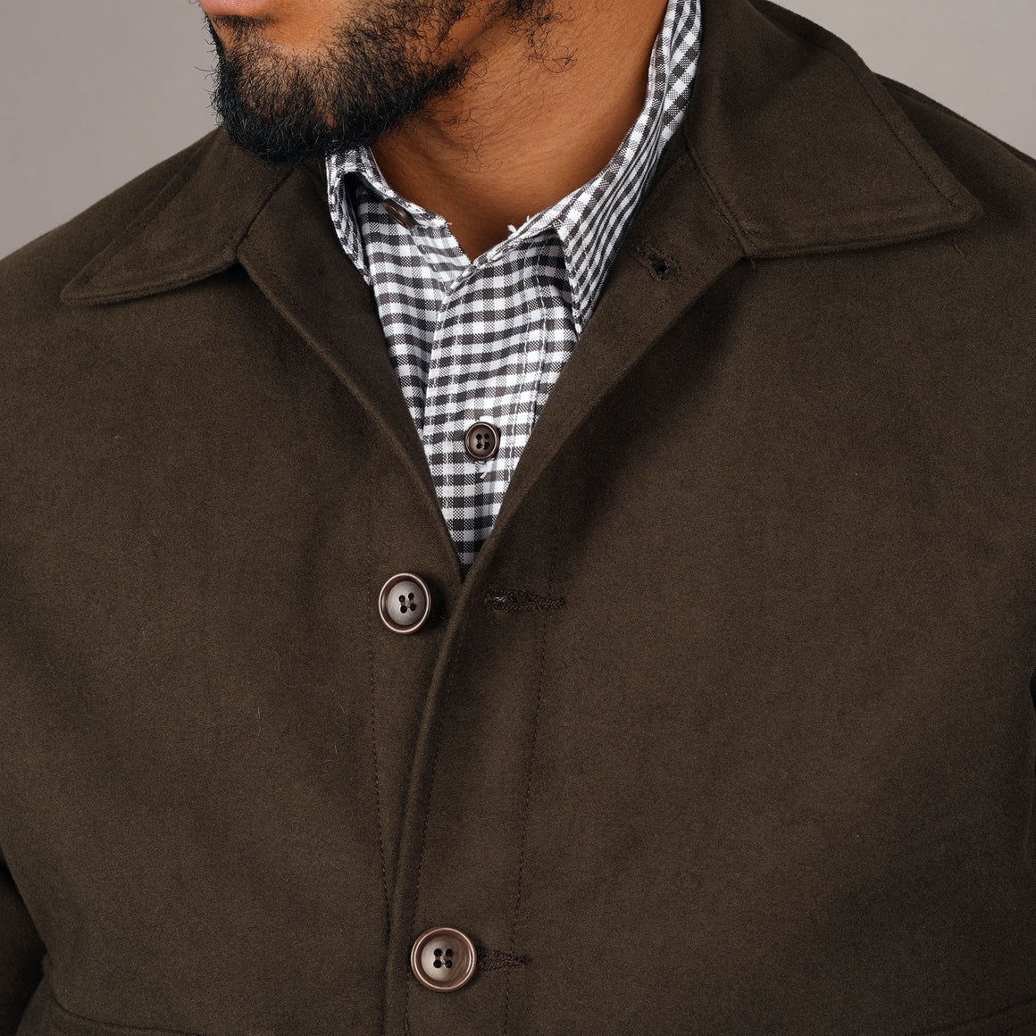 Bomber Jacket Brisbane Moss Chocolate Moleskin