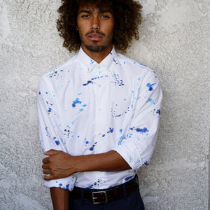 Blue Splatter Dot Hand-Dyed Capri Collar Oxford Shirt