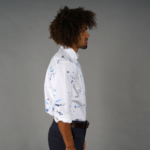 Blue Ink Splatter Dot Capri Collar Oxford Shirt