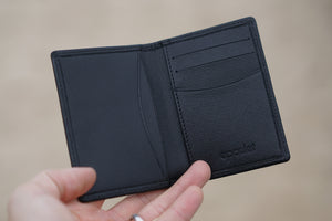Compact Folding Wallet Black Saffiano Leather