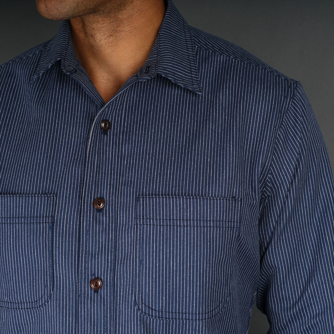 Chainstitch Shirt Indigo Railroad Stripe