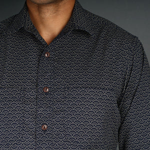 Chainstitch Shirt Indigo Waves Print Japanese Poplin