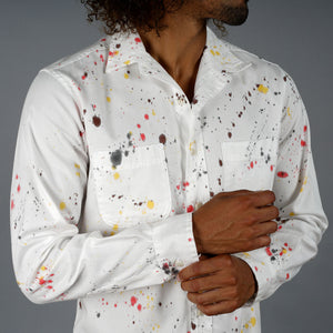 Foliage Splatter Dot Hand-Dyed Chainstitch Oxford Shirt