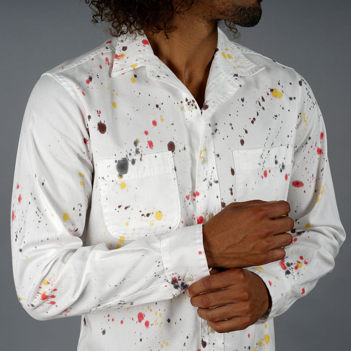 Fall Foliage Splatter Dot Chainstitch Oxford Shirt