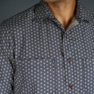 Chainstitch Shirt Indigo Starburst Print Japanese Poplin