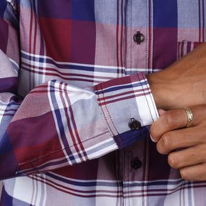 Chainstitch Shirt Thomas Mason Oxford Cranberry Splash Tartan