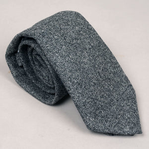 Necktie in E.Thomas Oxford Grey Crosshatch Wool