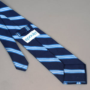 Necktie in Navy & Sky Silk Repp Stripe