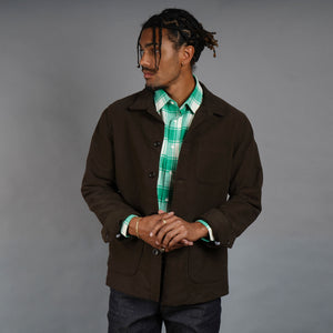 Doyle Jacket in Brisbane Moss Chocolate Moleskin