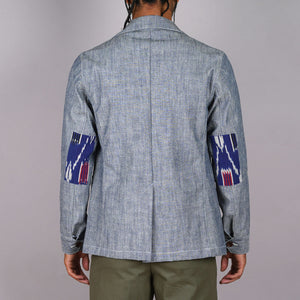 Doyle Jacket Indigo Sea Canvas with Ikat Elbow Patches