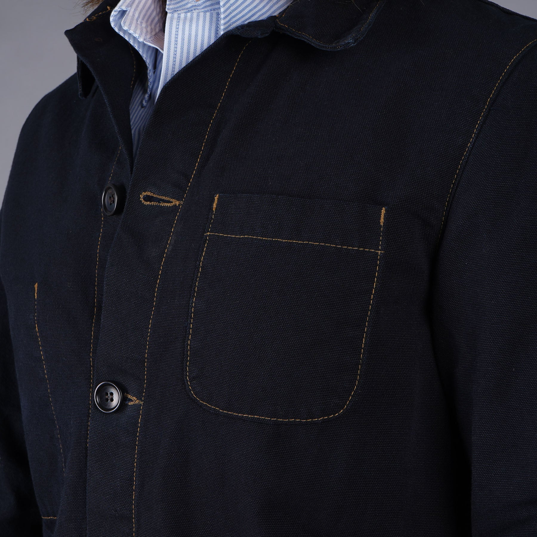 a767eb7a22 Doyle Jacket 12oz Indigo-Dipped Duck Canvas - Epaulet New York