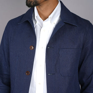 Doyle Jacket Speckled Indigo Denim with Ikat Elbow Patches
