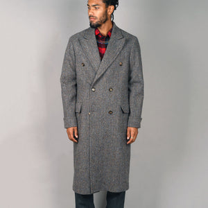Fenway Overcoat in Muted Steel Herringbone Harris Tweed