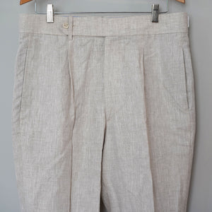 Sample Sale: Gable Trouser in Natural Albini Linen, Size 35