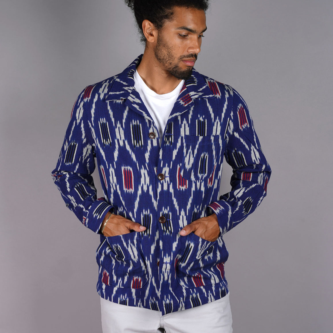 Doyle Jacket Hand-Woven Indigo Ikat Cotton