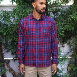 Chainstitch Shirt Indigo & Scarlet Check Twill