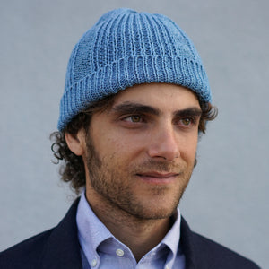 Heavy Knit Cotton Watch Cap Light Indigo