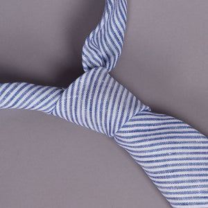 Necktie in Albini Linen Light Blue Ticking Stripe