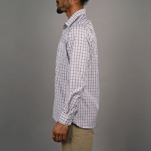 Chainstitch Shirt Thomas Mason Super 120s Scarlet & Charcoal Tattersall