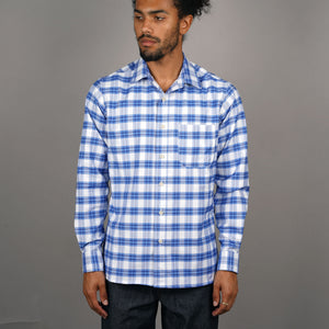 Chainstitch Shirt Thomas Mason Sky Blue & Ivory Tartan
