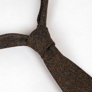 Necktie in E.Thomas Mocha Herringbone Wool Tweed
