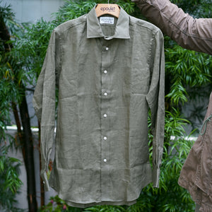 Sample Sale: Albini Olive Linen Shirt Size Small