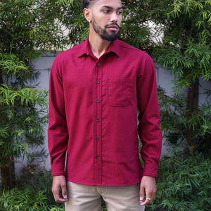 Chainstitch Shirt Brisbane Moss Oxblood Moleskin