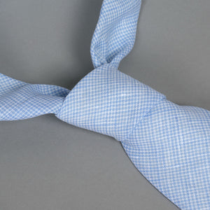 Necktie in Loro Piana Powder Houndstooth Linen-Cotton