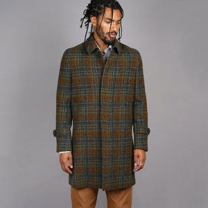 Quincy Overcoat in Moss & Iron Harris Tweed Check
