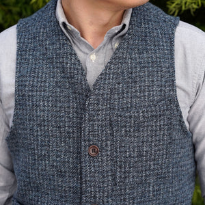 Sierra Vest Reid & Taylor Steel Blue Linear Tweed