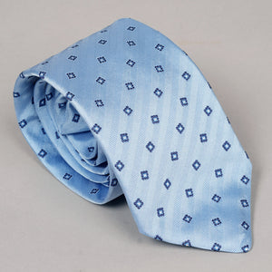 Necktie in Powder Blue Squares Silk Herringbone