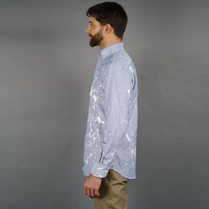 Ecru Ink Splatter Dot Capri Collar Blue Oxford Shirt