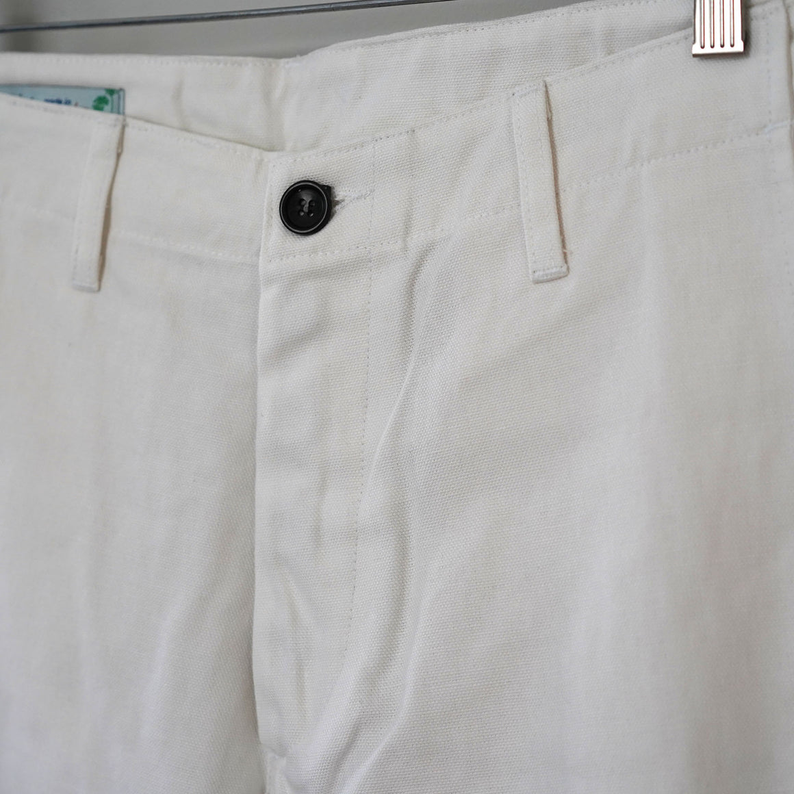 Sample Sale: Rivet Military Chino in White Canvas Size 34
