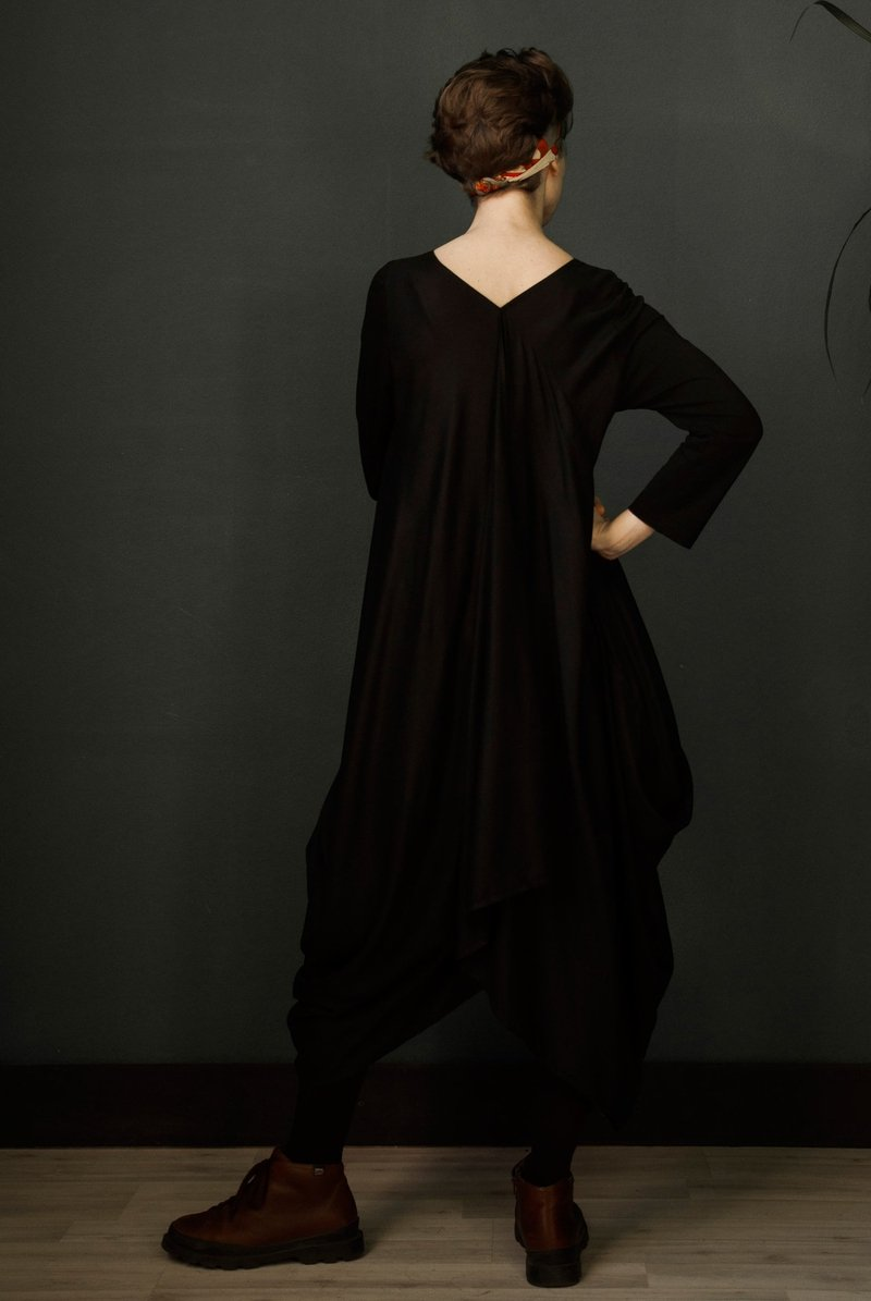 Draping black dress