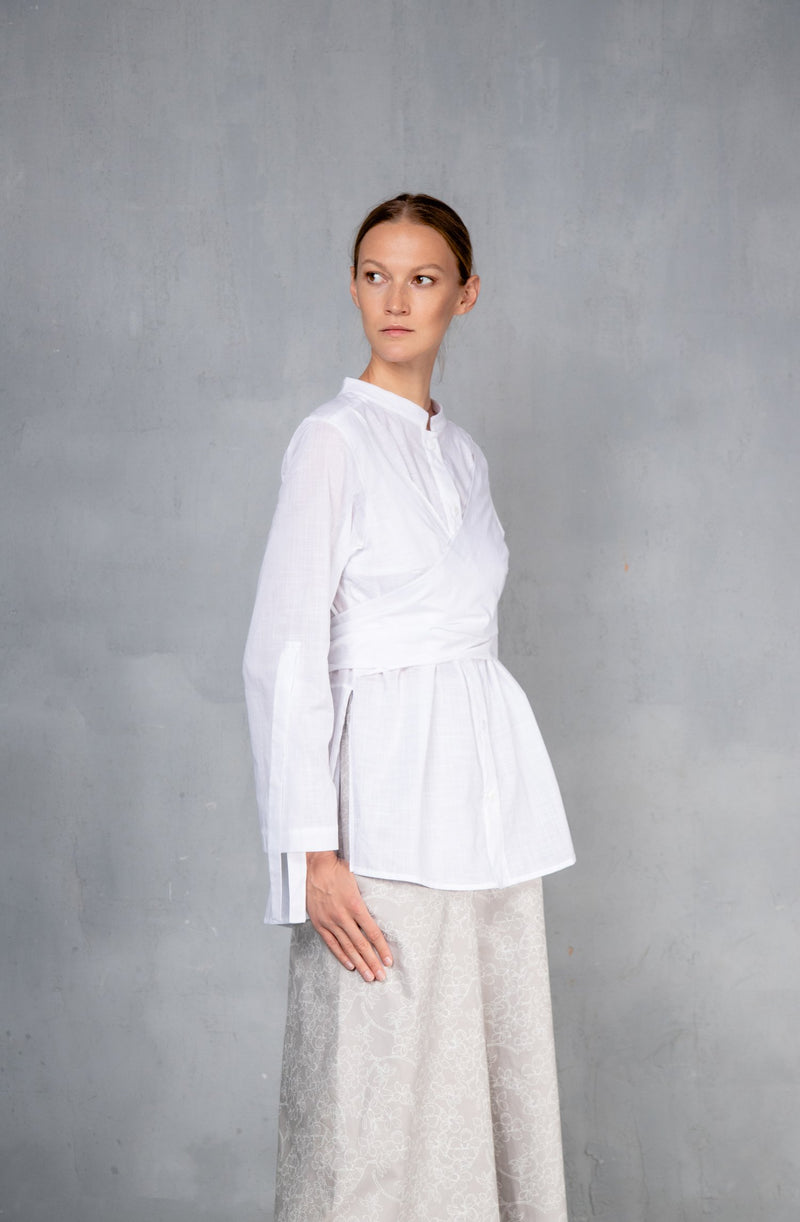 Shirt with waist draping White