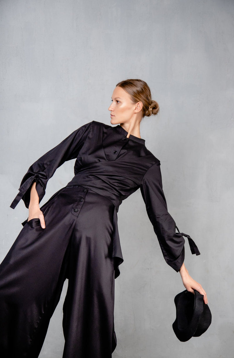 Shirt with waist draping Black