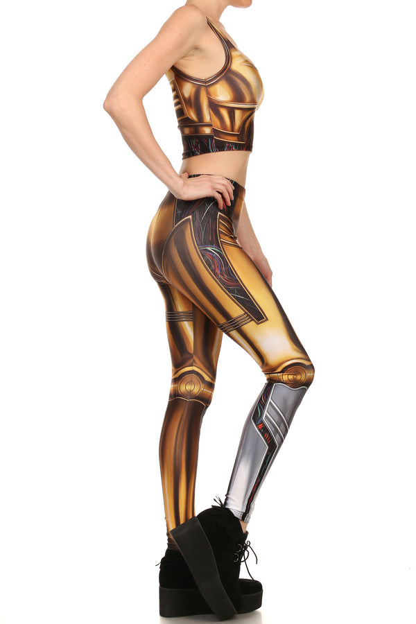 Gold Robot Leggings - POPRAGEOUS  - 3
