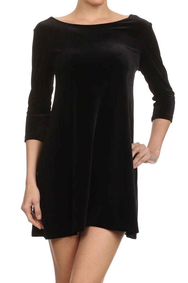 Velvet Shift Dress - Black - POPRAGEOUS  - 1