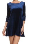 Velvet Shift Dress - Navy - POPRAGEOUS  - 1