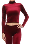 Velvet Turtleneck Crop Top - Burgundy - POPRAGEOUS  - 1