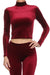 Velvet Turtleneck Crop Top - Burgundy