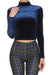 Velvet Turtleneck Crop Top - Navy