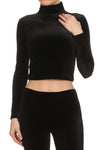 Velvet Turtleneck Crop Top - Black - POPRAGEOUS  - 1