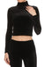 Velvet Turtleneck Crop Top - Black