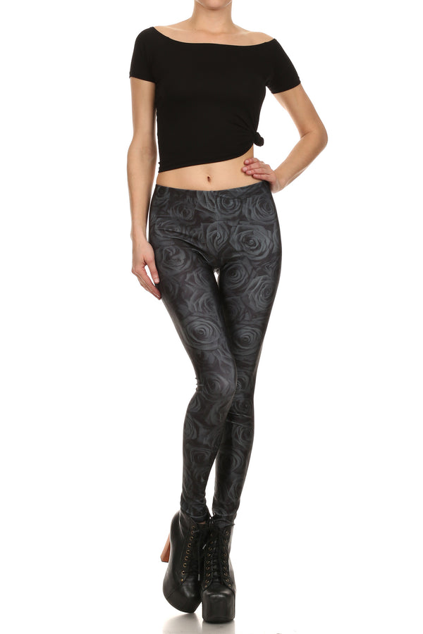 Black Rose Leggings - POPRAGEOUS  - 1