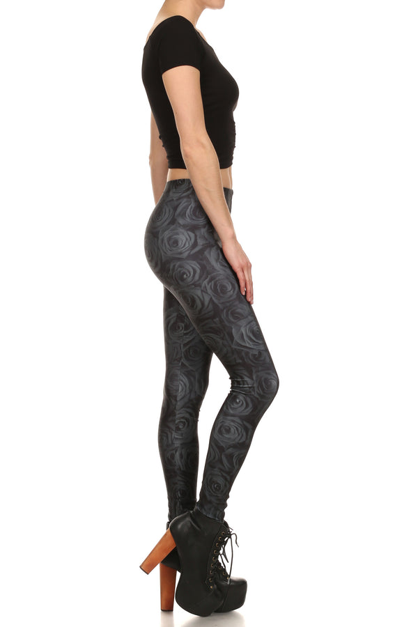Black Rose Leggings - POPRAGEOUS  - 3