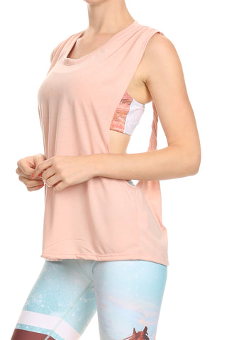 Twisted Back Tank - Pale Rose - POPRAGEOUS  - 1